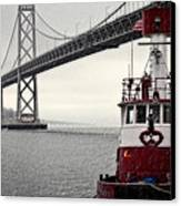 Bay Bridge And Fireboat In The Rain Canvas Print by Jarrod Erbe