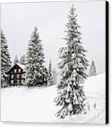Beautiful Winter Landscape With Trees And House Canvas Print by Matthias Hauser