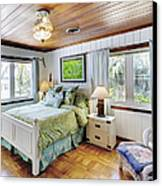 Bedroom With A Wood Ceiling Canvas Print by Skip Nall