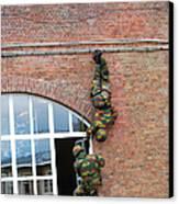Belgian Paratroopers Rappelling Canvas Print by Luc De Jaeger