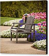 Bench In The Park Canvas Print by Cheryl Davis