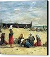 Berck - Fisherwomen On The Beach Canvas Print by Eugene Louis Boudin