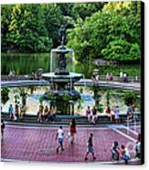Bethesda Fountain Overlooking Central Park Pond Canvas Print by Paul Ward