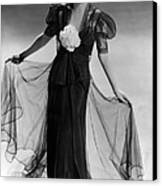Bette Davis Wearing Black Taffeta Gown Canvas Print by Everett