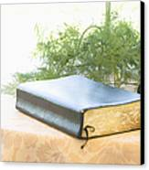 Bible And Microphone On Table Canvas Print by Ned Frisk
