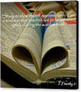 Bible Heart Scripture Art 2 Timothy 2 Canvas Print by Cindy Wright