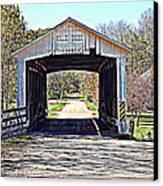 Billie Creek Village Covered Bridge Canvas Print by Robin Pross