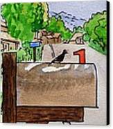 Bird On The Mailbox Sketchbook Project Down My Street Canvas Print by Irina Sztukowski