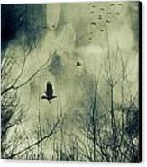 Birds In Flight Against A Dark Sky Canvas Print by Sandra Cunningham