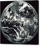 Black And White Image Of Earth Canvas Print by Stocktrek Images