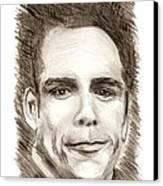 Black And White Pencil Portrait Canvas Print by Mario Perez