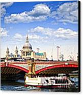 Blackfriars Bridge And St. Paul's Cathedral In London Canvas Print by Elena Elisseeva