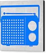 Blue Transistor Radio Canvas Print by Naxart Studio