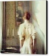 Blurry Image Of A Woman In Vintage Dress  Canvas Print by Sandra Cunningham