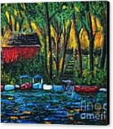 Boat Dock In The Evening Canvas Print by Reb Frost
