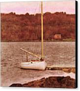 Boat Docked On The River Canvas Print by Jill Battaglia
