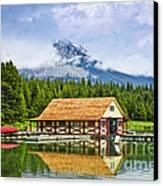 Boathouse On Mountain Lake Canvas Print by Elena Elisseeva