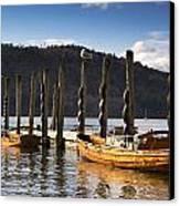 Boats Docked On A Pier, Keswick Canvas Print by John Short