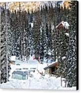 Bottom Of Ski Slope Canvas Print by Lisa  Spencer