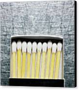 Box Of Wooden Matches On Stainless Steel. Canvas Print by Ballyscanlon