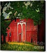 Branch Over Barn Door Canvas Print by Joyce Kimble Smith