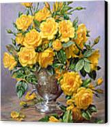 Bright Smile - Roses In A Silver Vase Canvas Print by Albert Williams