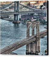 Brooklyn And Manhattan Bridge Canvas Print by Tony Shi Photography