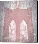 Brooklyn Bridge Red Canvas Print by Naxart Studio