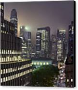 Bryant Park At Night From Roof Looking East Canvas Print by Jon Shireman