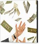 Businessman's Hands Trying To Catch Us Dollars Canvas Print by Sami Sarkis