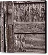 Cabin Door Bw Canvas Print by Steve Gadomski