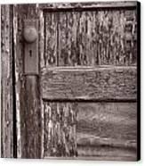 Cabin Door Bw Canvas Print by Steve Gadomski