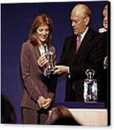 Caroline Kennedy And Senator Ted Canvas Print by Everett