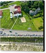 Cars Line Up At The Parking Lot At Chatham Lighthouse And Chatha Canvas Print by Matt Suess