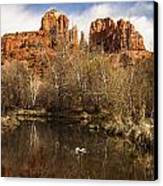 Cathedral Rock Reflections Portrait 1 Canvas Print by Darcy Michaelchuk