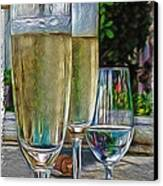 Champagne At The Beach Canvas Print by Joan  Minchak