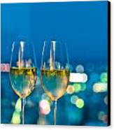 Champagne Glasses In Front Of A Window Canvas Print by Ulrich Schade