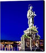 Charles Bridge Statue Of St John Of Nepomuk     Canvas Print by Jon Berghoff