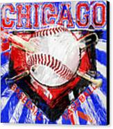 Chicago Baseball Abstract Canvas Print by David G Paul