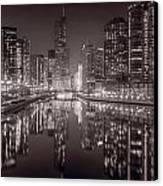 Chicago River East Bw Canvas Print by Steve Gadomski