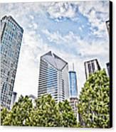 Chicago Skyline At Millenium Park Canvas Print by Paul Velgos