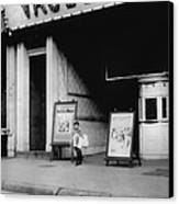 Child Labor In Front Of A Movie Canvas Print by Everett