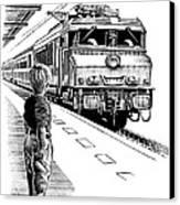 Child Train Safety, Artwork Canvas Print by Bill Sanderson