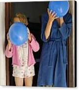 Children Blowing Up Balloons Canvas Print by Sami Sarkis