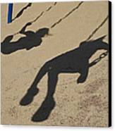 Children Cast Body Shadows In The Sand Canvas Print by Stacy Gold