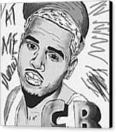 Chris Brown Cb Drawing Canvas Print by Pierre Louis