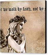 Christian Faith Girl Angel With Praying Hands Canvas Print by Kathy Fornal