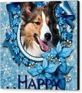 Christmas - Blue Snowflakes Sheltie Canvas Print by Renae Laughner