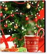Christmas Cookies  Near The  Tree  Canvas Print by Sandra Cunningham