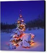 Christmas Tree Glowing Canvas Print by Carson Ganci